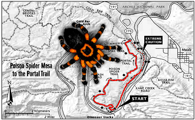 Poison Spider and Portal MTB Trail Map